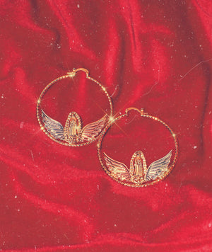 Virgencita Angel Babe Hoop Earrings Tri~Gold Gold Virgencita detail with Silver & Rose Gold Wings