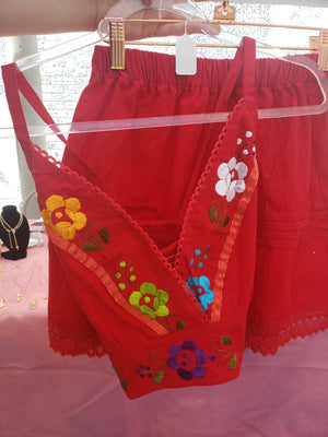 Hippie~Flower Two Piece (red)