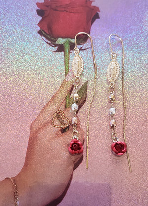 Virgencita Rosa Dangle Earrings