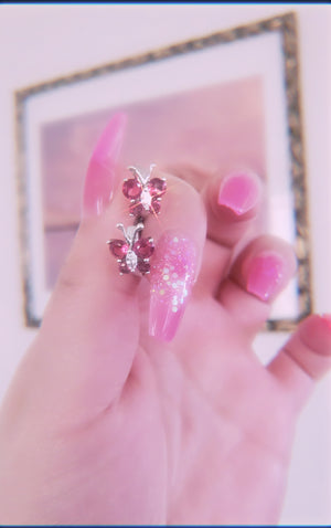 Mini Fairy Pink Butterfly Studs