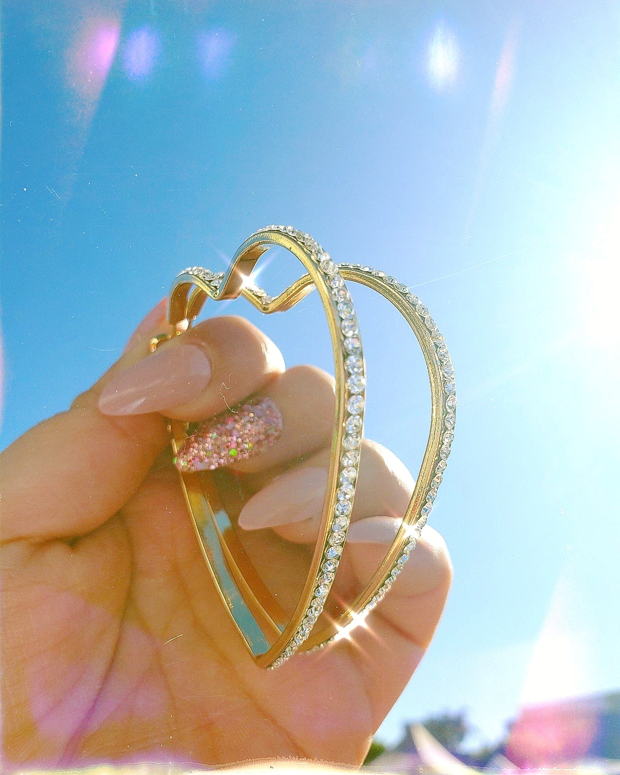 Crystal heart vintage hoops earrings Extra Sparkly Hoop Earrings Latina Jewelry Store