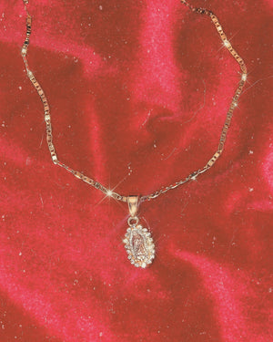 Tri~ Gold VIrgencita Charm Necklace with sparkly Crystal Halo