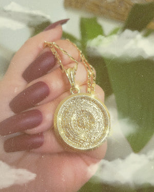 Aztec Sun Calendar Necklace Vintage Coin