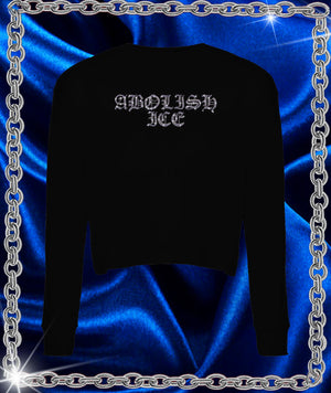 Abolish Ice Rhinestone Crop Long Sleeve Tee