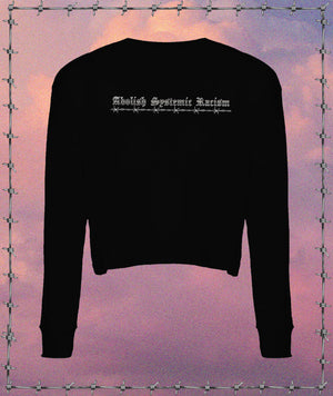 Abolish Systemic Racism Crop Long Sleeve Tee