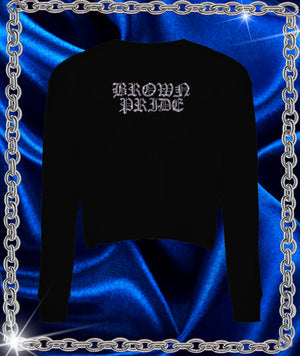 Brown Pride Rhinestone Crop Long Sleeve Tee