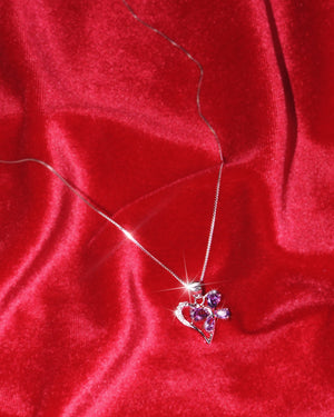 Heart Butterfly Sterling Silver Necklace