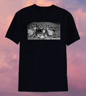 Black tee with vintage black and white photograph of Female soldiers, known as 'Las Adelitas', during the Mexican Revolution (1910-1930)