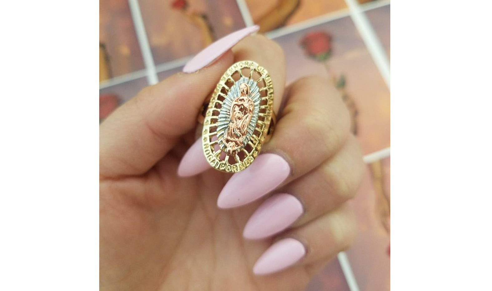 Tri Gold Virgencita gold plated ring. Latina jewelry, Mexican jewelery