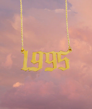 Custom  Year Nameplate Necklace 24k Gold Plated Latina Jewelry Brand