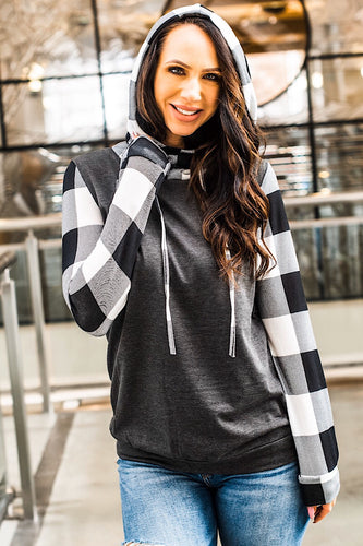 Plaid Sleeve Hoodie (Black And White)
