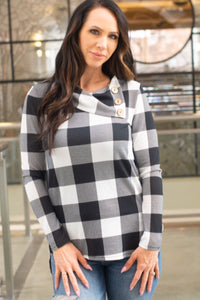 Plaid Button Detail Sweater (Black And White)