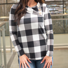Load image into Gallery viewer, Plaid Button Detail Sweater (Black And White)