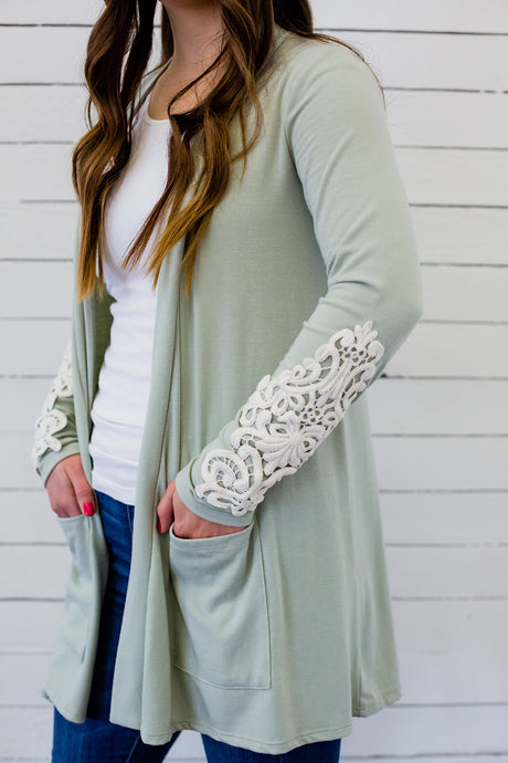 Lace Detail Sleeve Cardigan