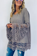 Load image into Gallery viewer, Gorgeous Lace Trimmed Top (Gray)