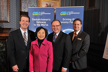 "Emterra Group announces the purchase of a 13-acre parcel of land at Saskatchewan's Global Transportation Hub (GTH) in west Regina to build a world-class material recovery facility utilizing a ""green"" approach that will use less energy, less water and less natural resources. From the left is Regina Mayor, Michael Fougere; Emterra CEO Emmie Leung; Saskatchewan Minister Responsible for the Global Transportation Hub, Bill Boyd; and, GTH President and CEO, Chris Dekker."