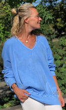 Load image into Gallery viewer, Raglan V Neck - Baby Blue