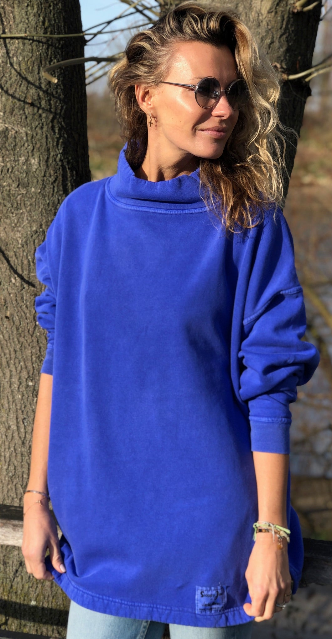 HIGH NECK SWEATSHIRT - Hyacinth Wash