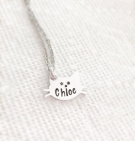 Hand stamped cat necklace