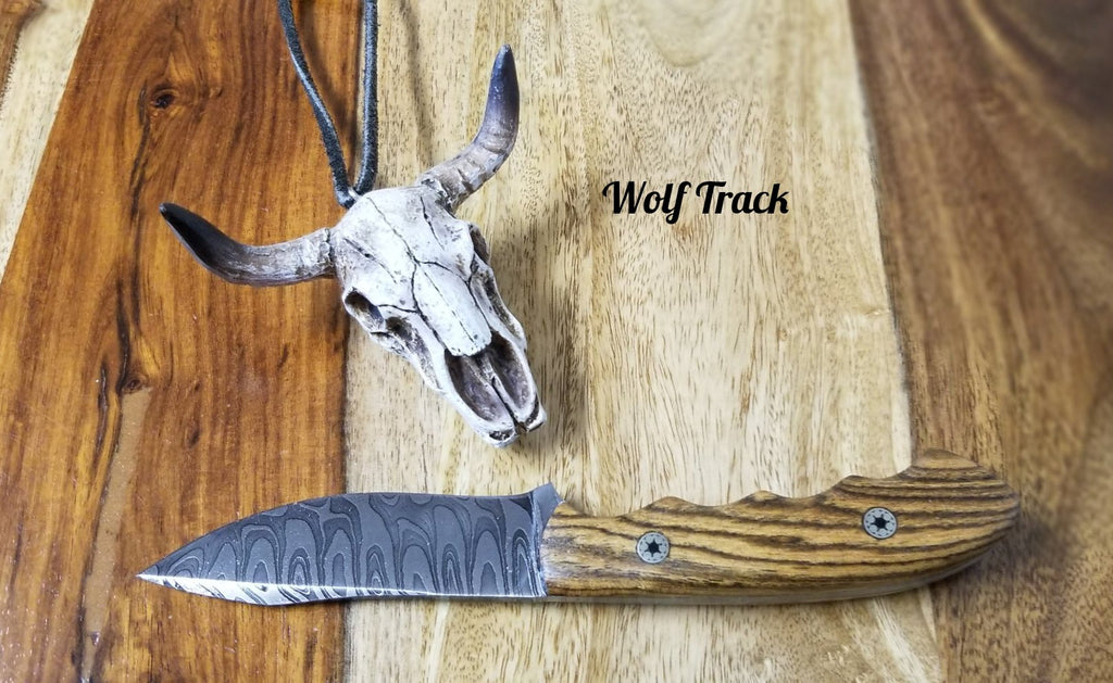 Wolf Track Custom Damascus Knife - WT228DG