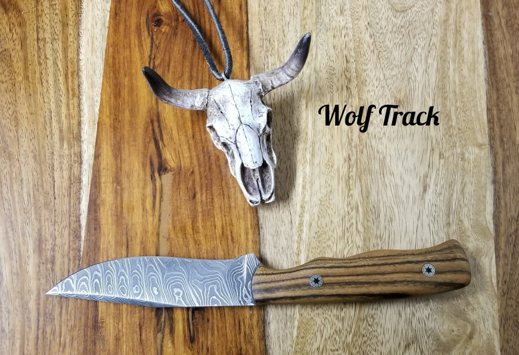 Wolf Track Custom Damascus Knife - WT240DG