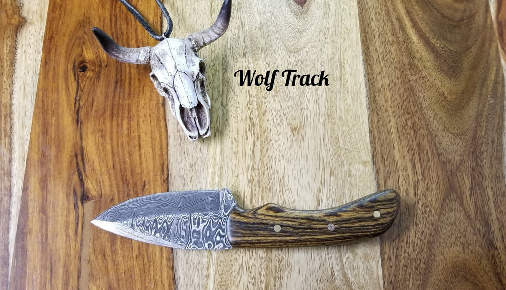 Wolf Track Custom Damascus Knife - WT237DG