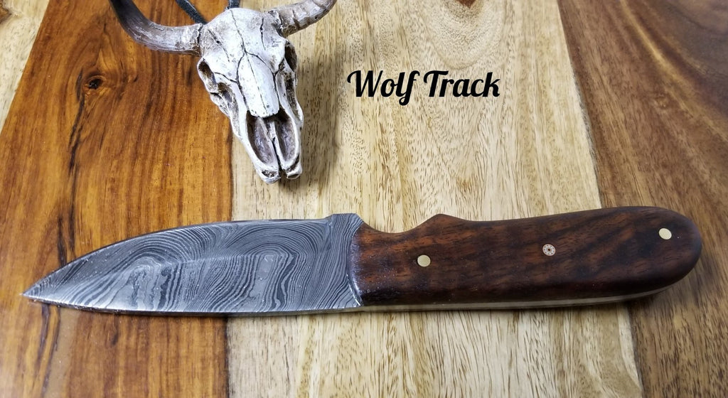 Wolf Track Damascus Custom Knife - WT234DG