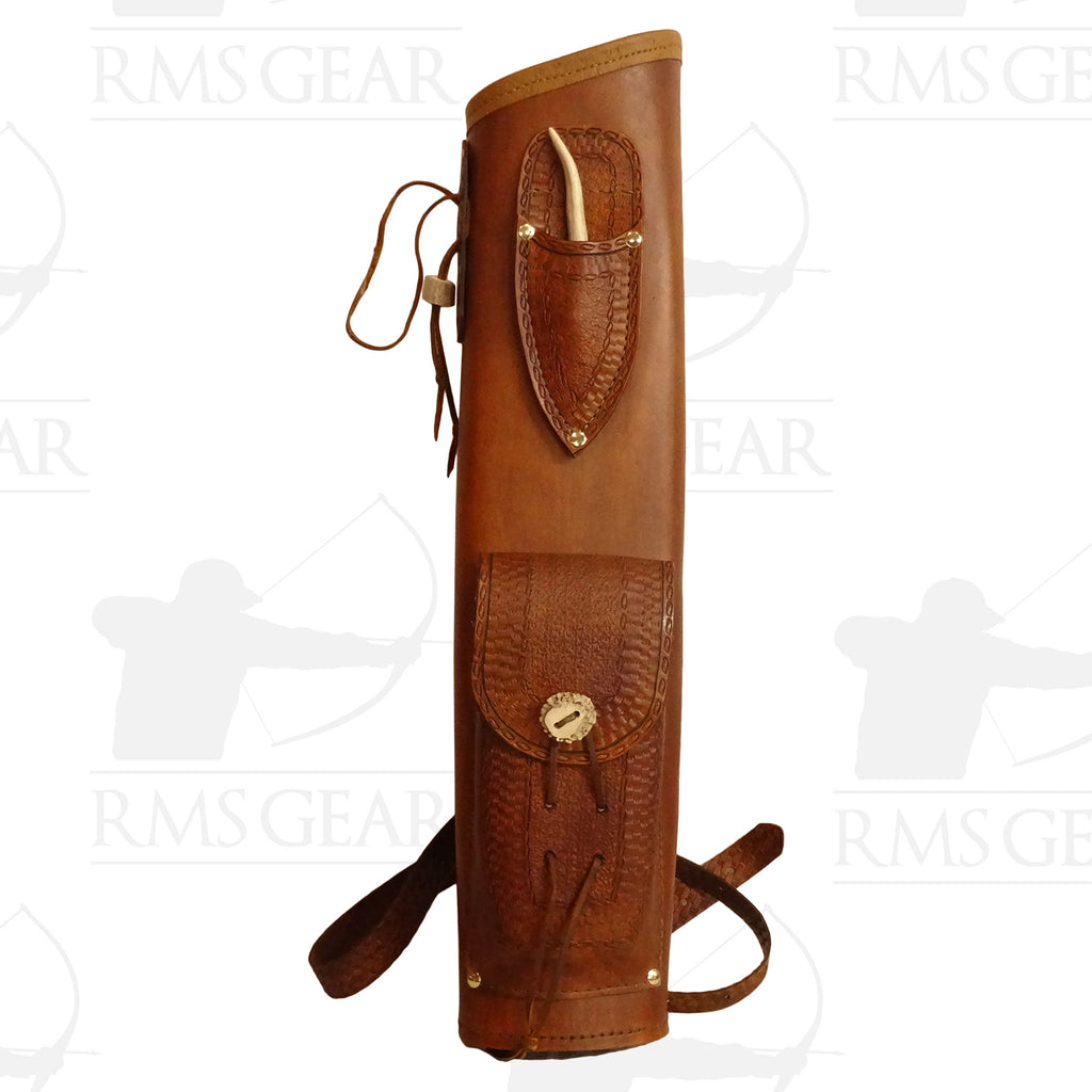 Used Tooled Leather Quiver with Pocket - USEDBQMA