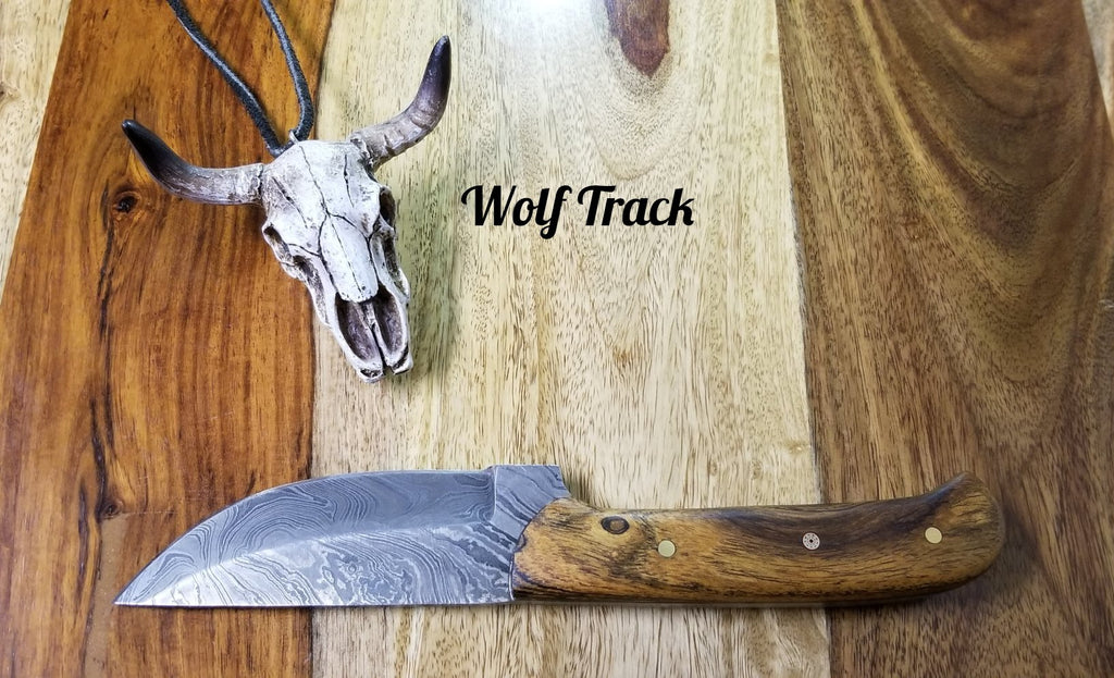 Wolf Track Custom Damascus Knife - WT236DG