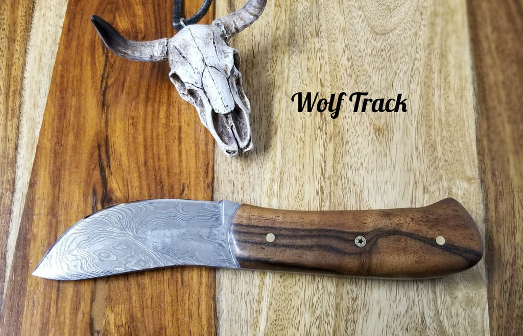 Wolf Track Custom Damascus Knife - WT233DG