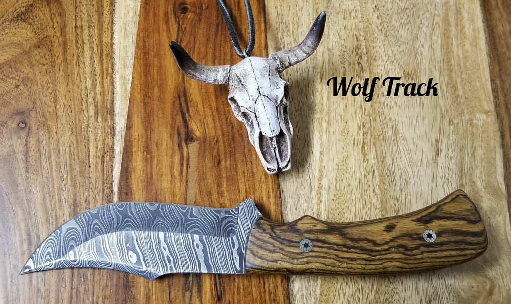 Wolf Track Custom Damascus Knife - WT241DG