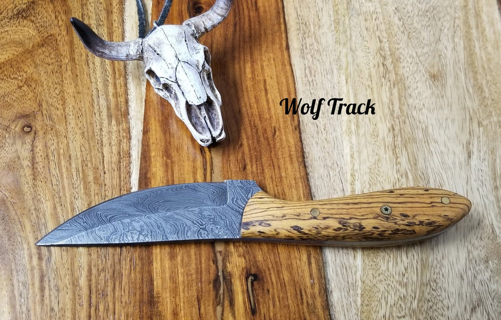 Wolf Track Damascus Custom Knife - WT230DG
