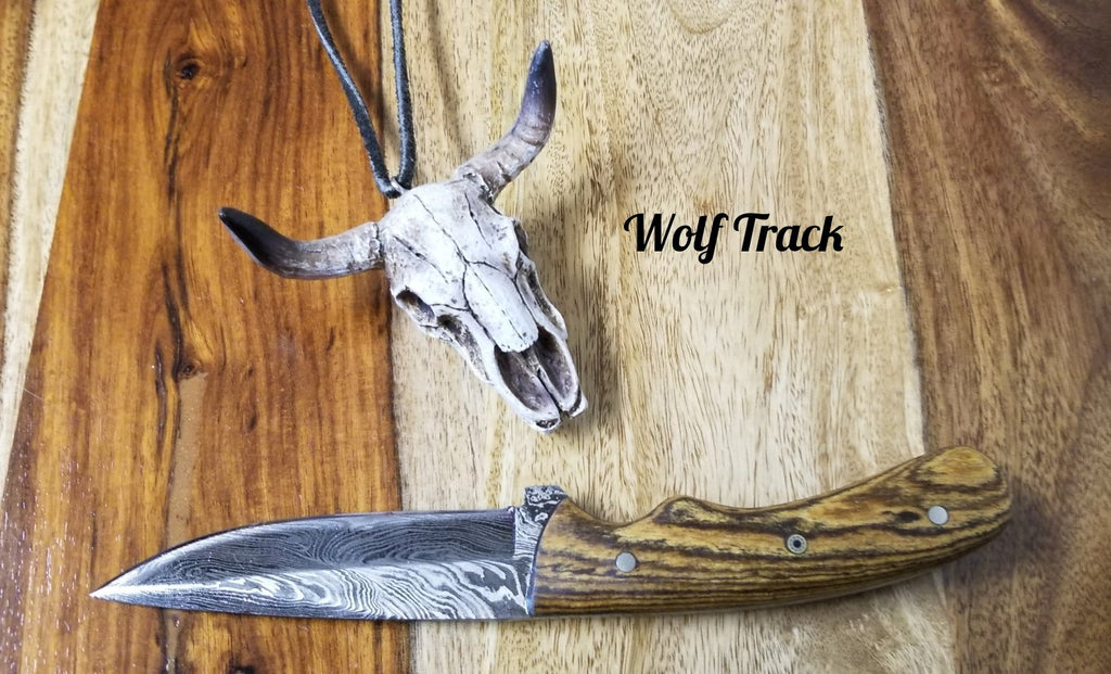 Wolf Track Custom Damascus Knife - WT229DG