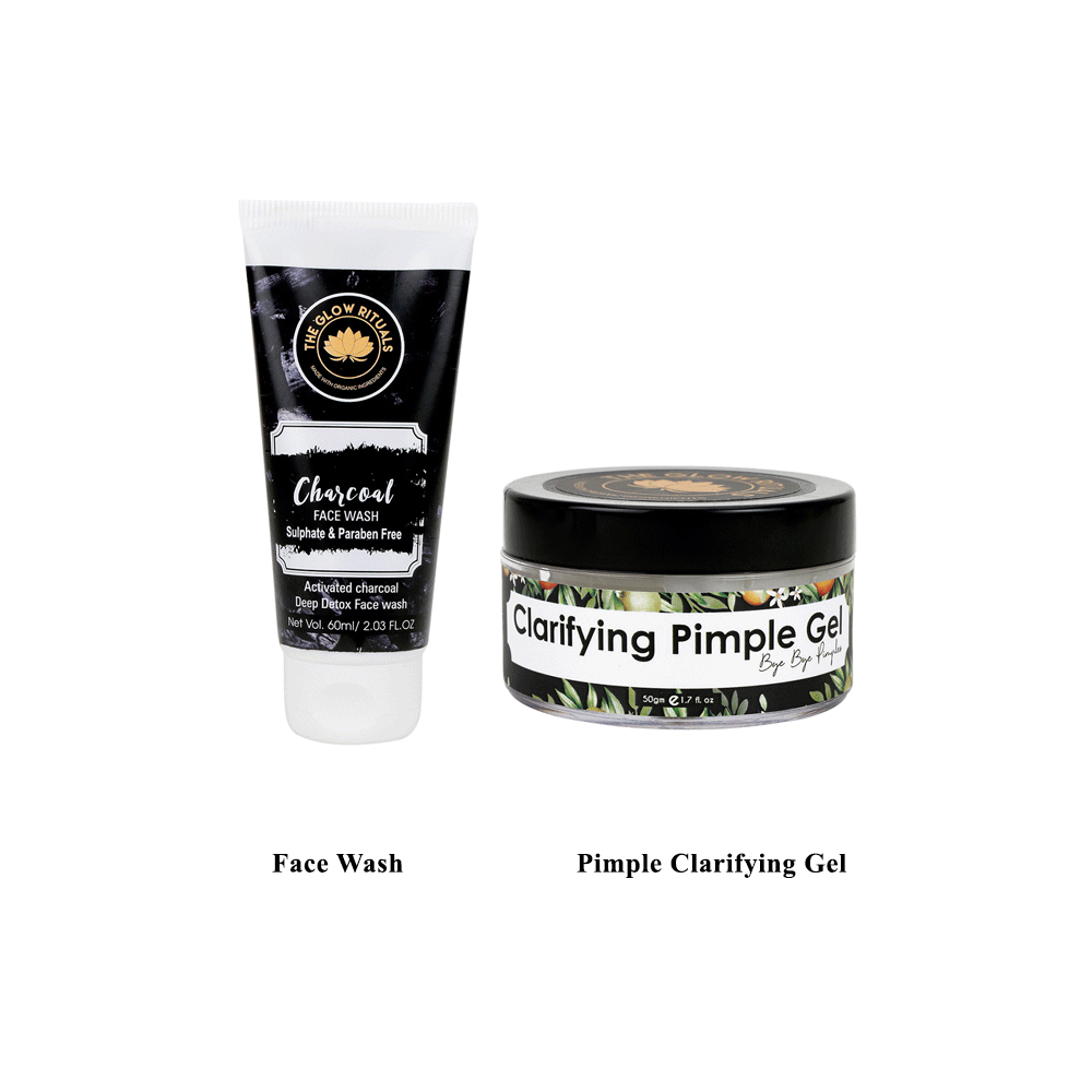 The Glow Rituals Charcoal Face Wash and Pimple Clarifying Gel Combo By Lujobox