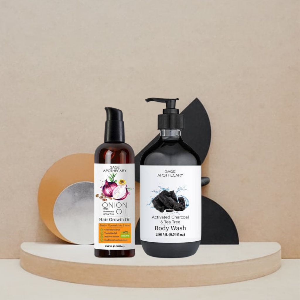 Activated Charcoal, Tea Tree Body Wash and Onion Hair Oil Combo From Lujobox by Sage Apothecary