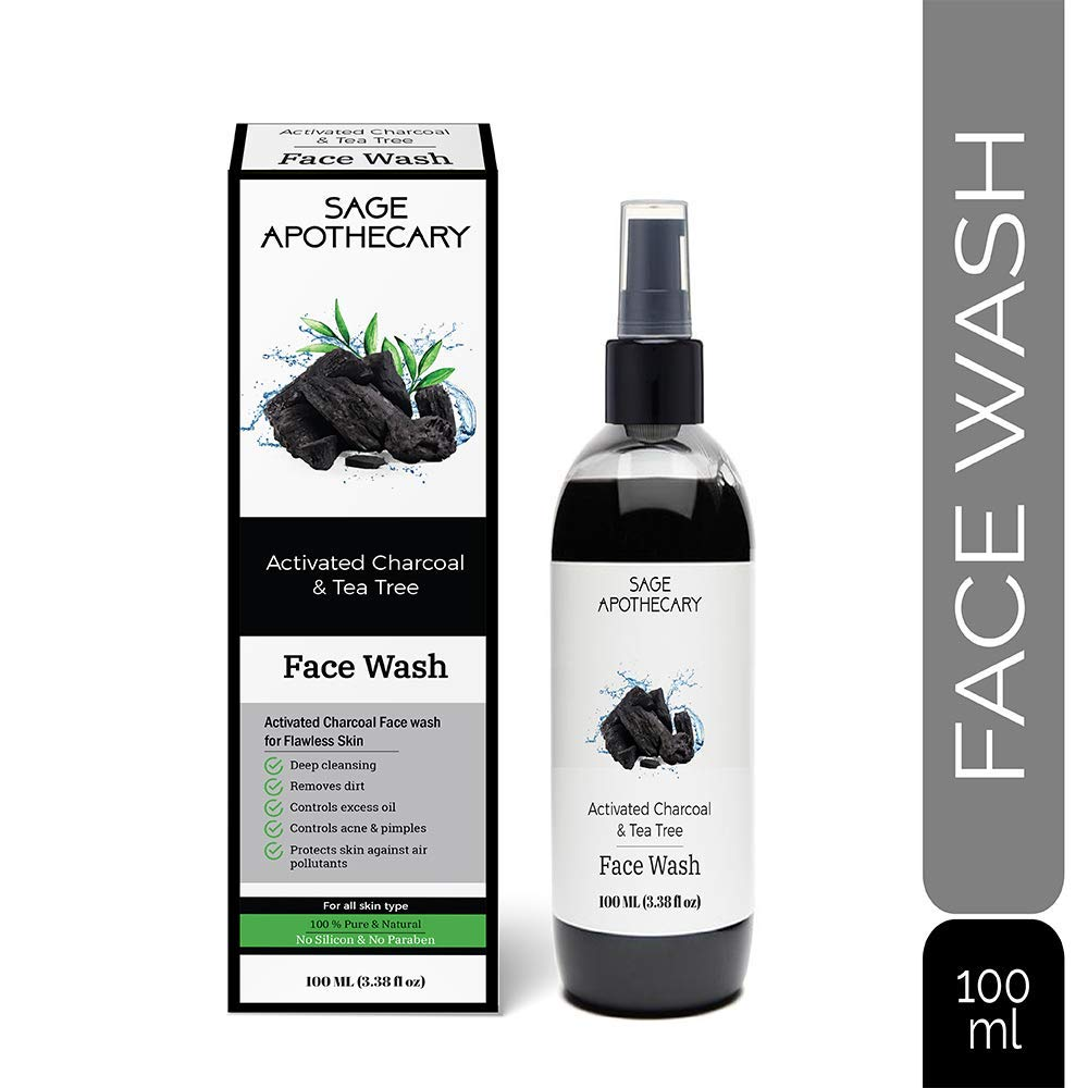 Sage Apothecary Activated Charcoal Tea Tree Face Wash