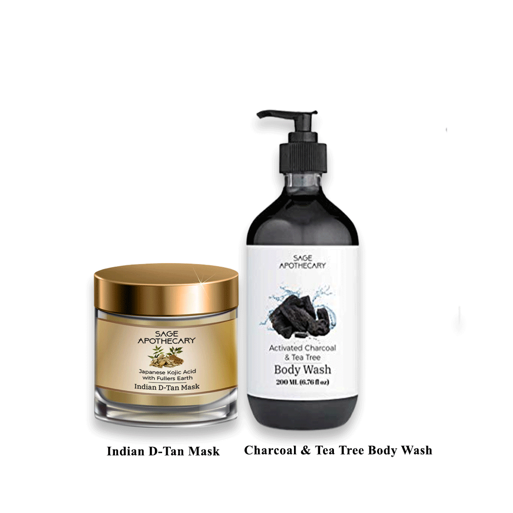 Lujobox D-Tan Mask and Charcoal & Tea Tree Body Wash Combo