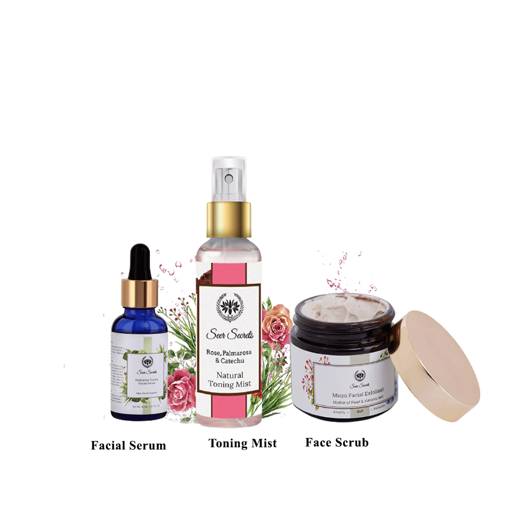 Lujobox Seer Toning Mist, Seer Secrets Face Scrub and Facial Serum Combo