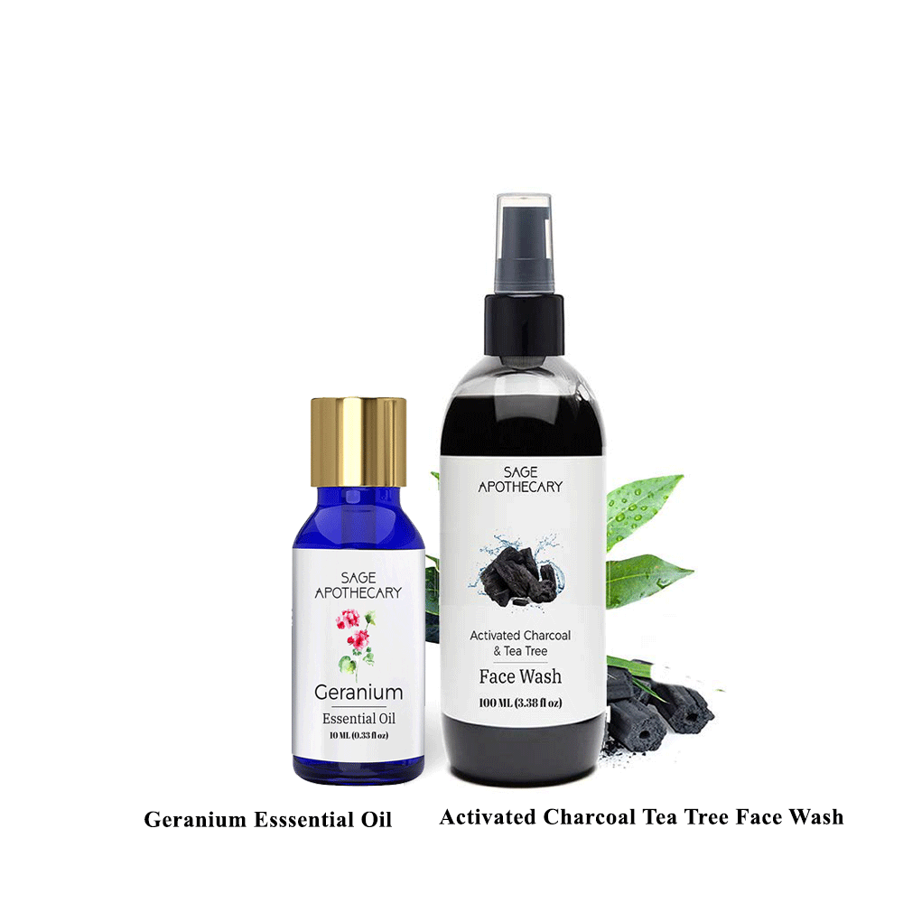 Sage Apothecary Activated Charcoal Face Wash and Geranium Essential Oil Combo by Lujobox