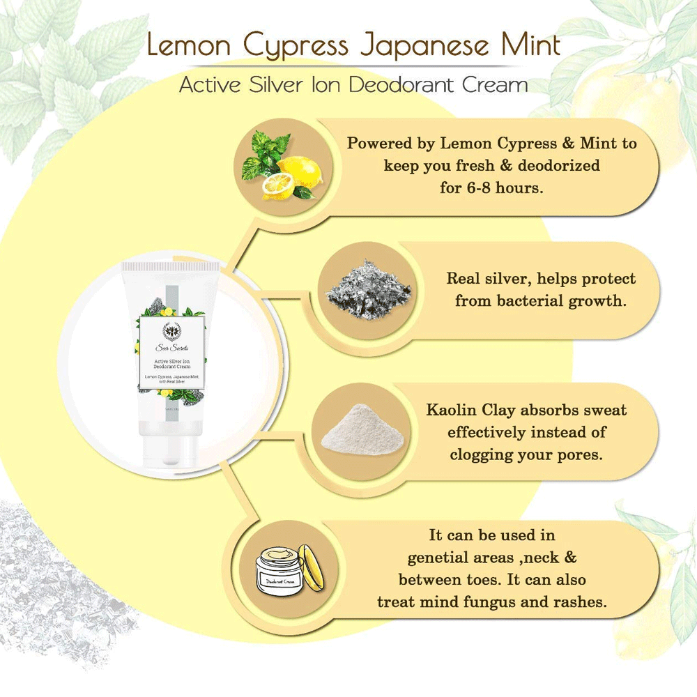 Seer Secrets Lemon Cypress Japanese Mint Active Silver Ion Deodorant Cream Whitening & Bleaching - Lujo Box Beauty Box Subscription