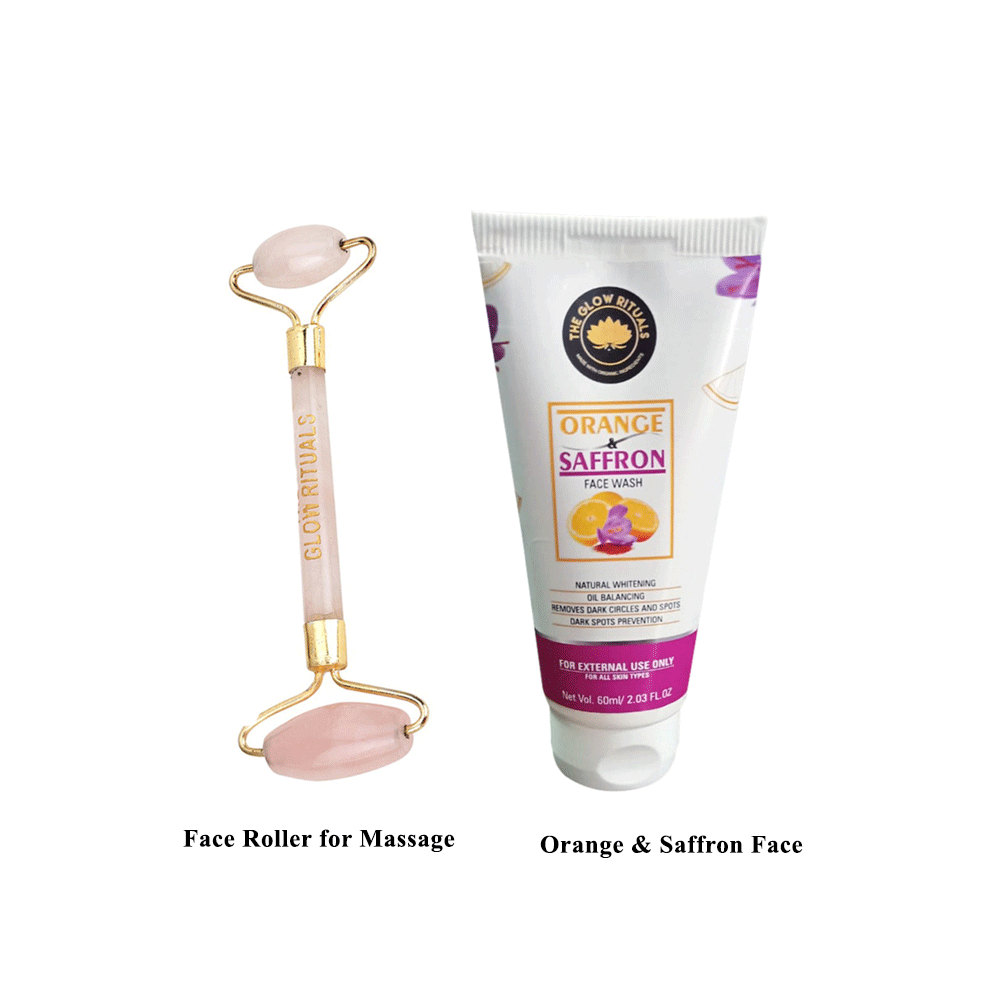 The Glow Rituals Rose quartz face roller and orange & saffron face wash combo By Lujobox