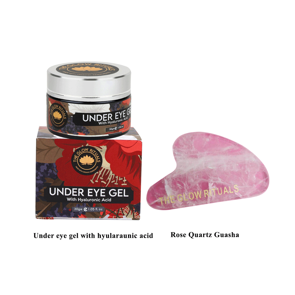 The Glow Rituals Under eye gel and Rose Quartz Guasha Combo By Lujobox
