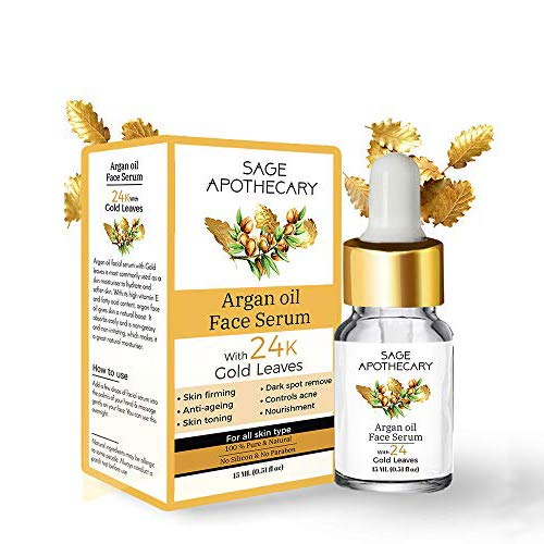 Sage Apothecary Argan Oil Face Serum With 24K Gold Leaves by Lujobox