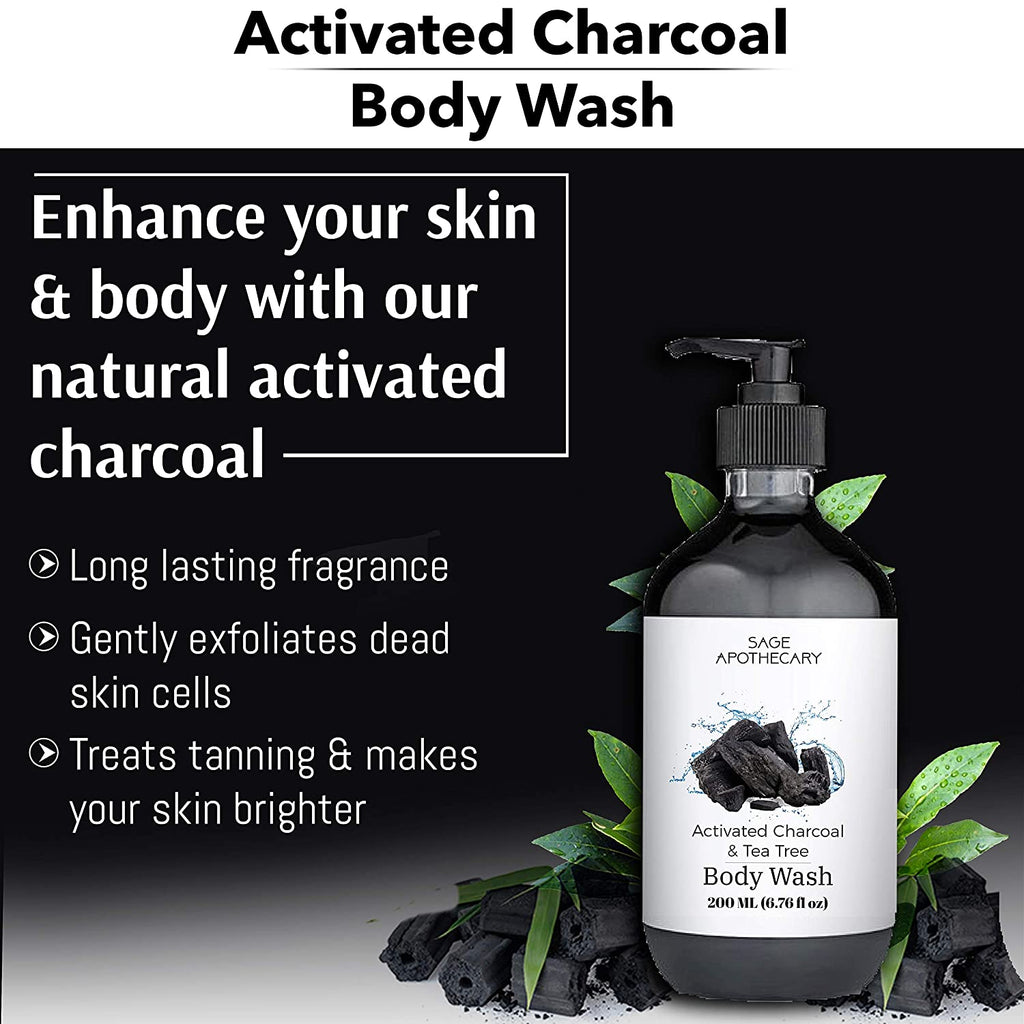 Sage Apothecary Activated Charcoal & Tea Tree Body Wash by Lujobox