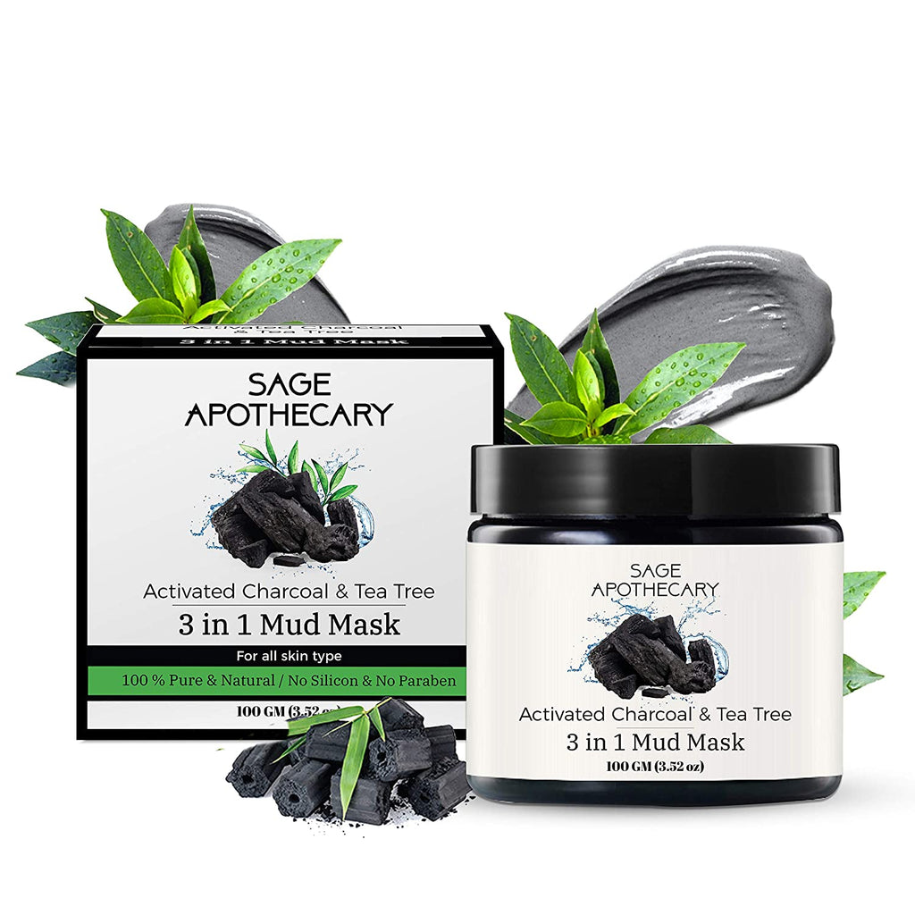 Sage Apothecary Activated Charcoal & Tea Tree 3 In 1 Mud Mask