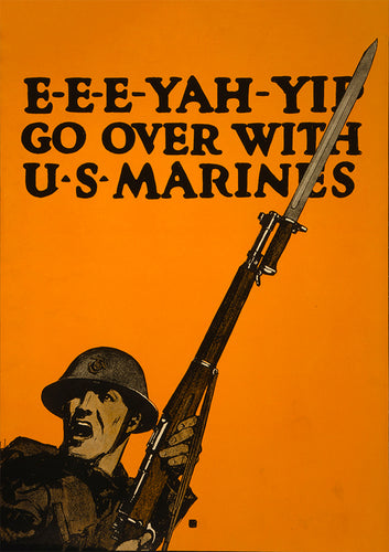 Go over with U.S. Marines – US World War One poster