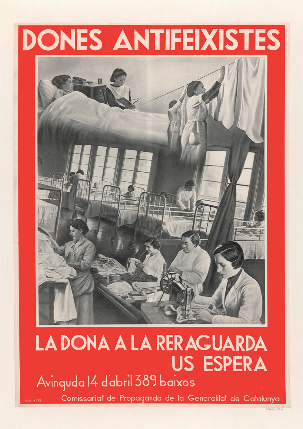 Anti-fascist women, the woman in the rear is waiting for you – Spanish Civil War poster