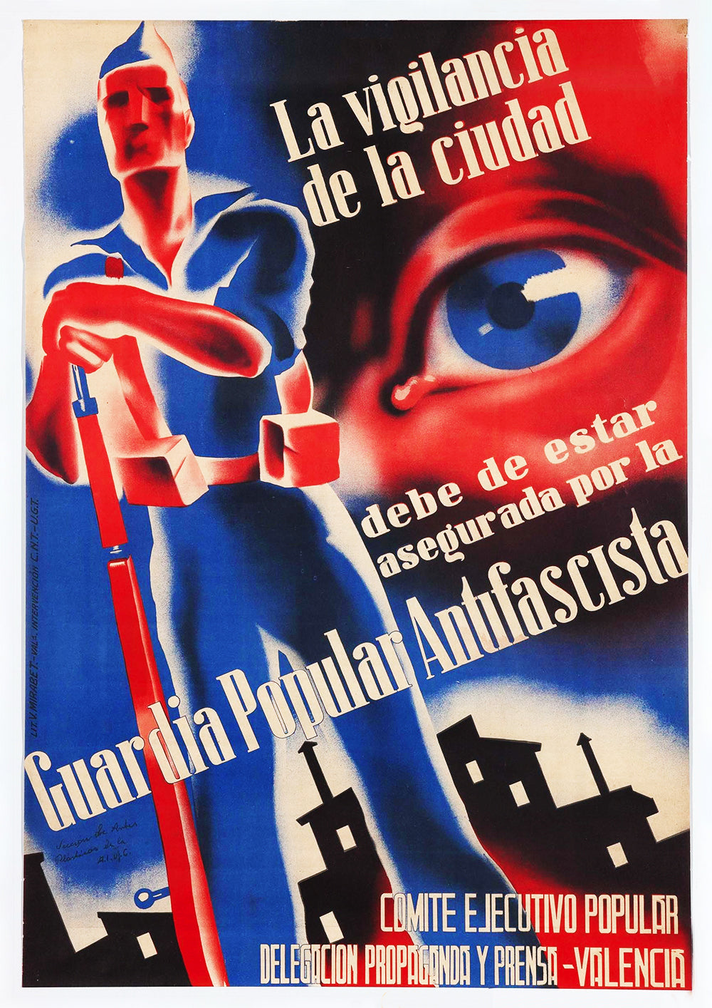The surveillance of the city – Spanish Civil War poster