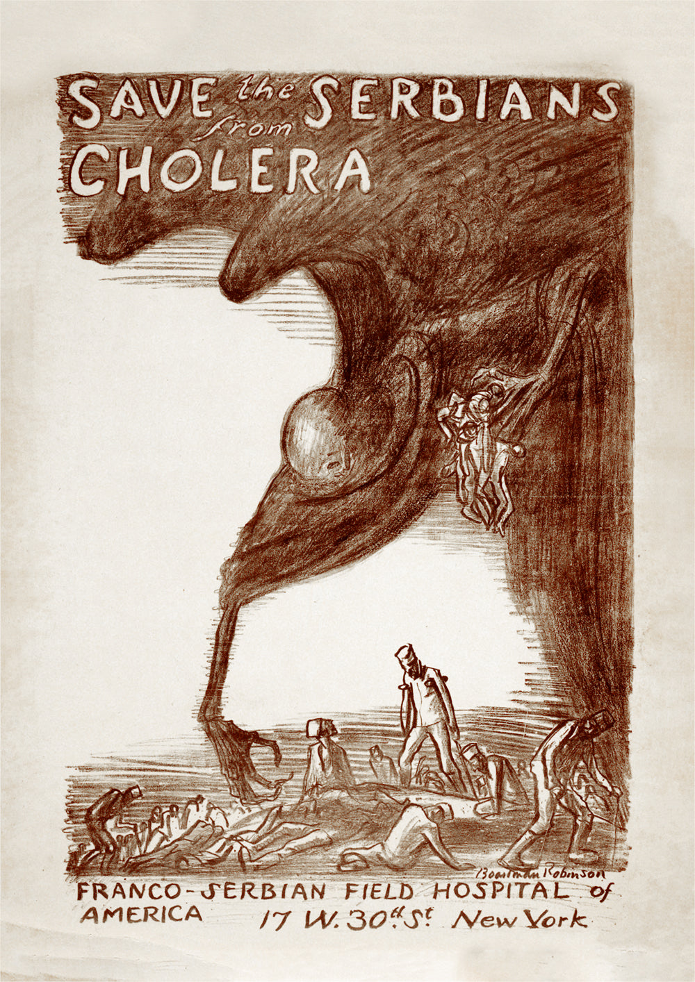 Save the Serbians from cholera – American fundraising poster