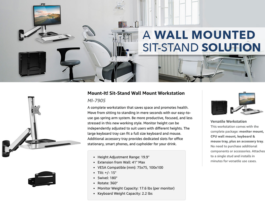 Mount-It! Sit Stand Wall Mount Workstation
